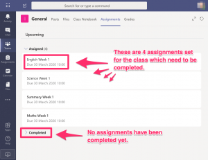 Screen showing the assignments view with 4 assignments available