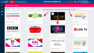 Home page of LGfL showing learning resources available