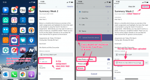 Stages to upload a piece of work from a smart phone
